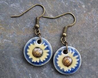 Brass Sunflower Earrings