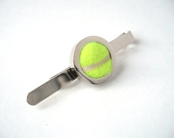 Tennis Ball Tie Bar - Wedding Tie Clip, Silver Plated Tie Pin