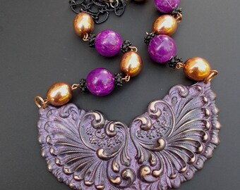 Big Bold Chunky Necklace, Vintage Assemblage Necklace, Purple Bead Necklace, Copper Bead Necklace, Statement Jewelry Necklace