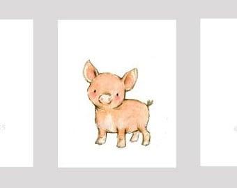 Children's Art -- Farm Animals SET OF 3 -- Archival Print