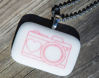 Fused Glass Pendant - Camera - hot pink on white