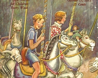 Carnival Print - 1953 Vintage Children's Story A Day Magazine Cover - Merry Go Round - Signed - Emma L Brock - Amusement Park - Story Art