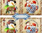 Christmas 1381 4 x 4 Snowmen Coasters Printable Handmade Digital Collage Sheet