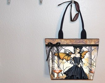 Dark Undercurrent Amy Brown steampunk fairy tote bag, book tote, large purse, canvas tote, shoulder bag