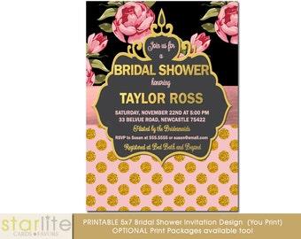 Floral Vintage Bridal Shower Invitation, Pink and Black Floral Bridal Shower Invitation, Pink Gold Glitter Polka Dots, Printable, Printed