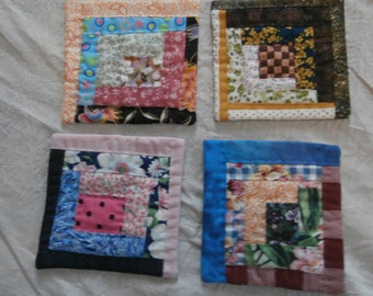 LOG CABIN QUILT Mug Rug Set Doilys Hand Quilted Set of Four  Free Shipping