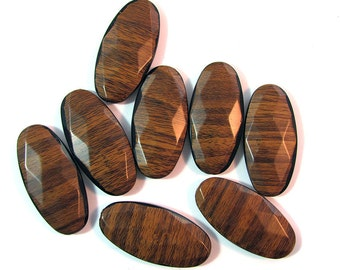 Faceted Oval Wood Laminate Beads 8