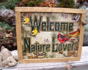 """TIN SIGN CABINET-WaLL storage-""""WeLcome NaTure Lovers""""-Cardinals,Nuthatch,Chickadee,Goldfinch-with hanging hardware & instructions included,"""