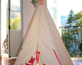 Waldorf Inspired Children's woodland animals large teepee/indoor outdoor playtent for imaginitive play/No poles/