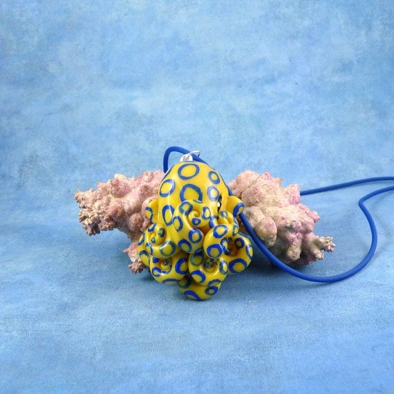 Blue Ringed Octopus Necklace, Yellow & Blue Polymer Clay Cephalopod Jewelry