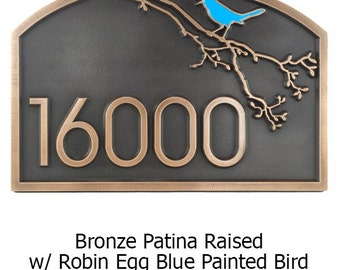 Songbird Address Plaque with Painted Songbird 18x12 in made in the USA by Atlas Signs and Plaques