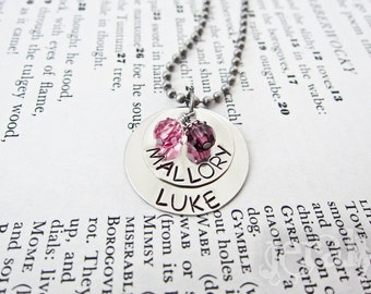 Custom Stamped Name Necklace - Personalized with Swarovski Birthstone Charms - Two Discs for Moms, Mums