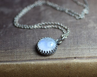 Rainbow Moonstone Necklace ~ Crown Bezel Set ~ Sterling Silver Chain ~ Gallery Setting Moonstone Cabochon Necklace 12mm