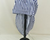 Blue And White Stripe Draped Knee Length Bustle Skirt-One Size, Fits 20-38 Inch Waist
