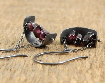 Garnet earrings, sterling silver metalwork, hammered silver horseshoe with garnet beads, ready to ship.