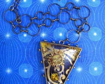 Resin Pendant Sorceress of the Sky Sun Amulet wearable art necklace