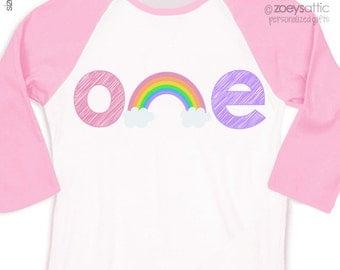 Birthday girl shirt rainbow any age girl birthday party personalized raglan style shirt