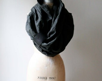 Men's Green Linen Long Scarf , Leather , Women's Scarves, Fall Fashion Accessories, Wraps and Shawls, Autumn