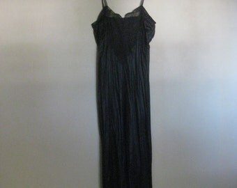 1970's Lingerie Nightgown Black Nylon Vintage