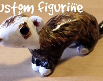 Custom Cute Ferret Sculpture/Figurine - Made to Order