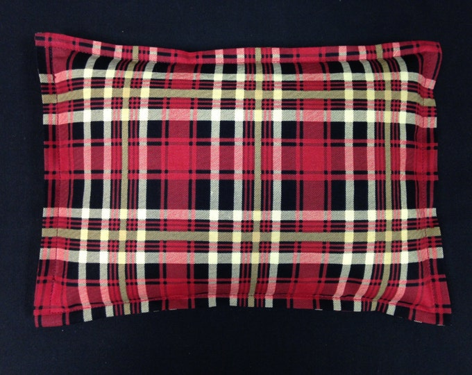 Medium Corn Bag 9x11, Microwavable Heating Pad, Heat Pack, Heat Therapy, Ice Pack, Massage Therapy, Gift for Dad - Red Black Plaid