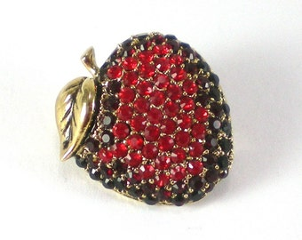 Apple Brooch Pin - Monet Red Rhinestone - Collectible Jewelry - Holiday Gift Idea For Teachers