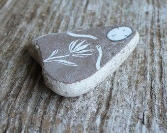 Large Beach Pottery Kuan Yin - The Bodhisattva of Compassion - Grey, Healing, Flower, Calm, Peaceful, Wabi Sabi, Serene, Meditation
