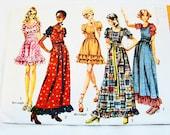 1970s Boho Maxi Dress Pattern Misses size 7 Junior Petite UNCUT Peasant Dress Mini or Maxi Dress Pattern Vintage Sewing Pattern