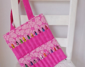 Pink Barbie Doll Crayon Bag Coloring Tote Girls Birthday Gift Ready to Ship Activity Bag Crayon Roll Mattel Barbie Doll
