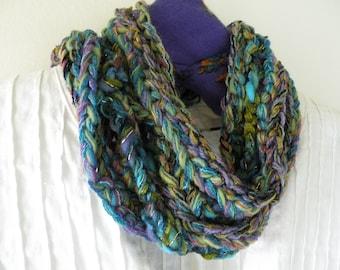 Crochet scarf women's long chunky knit skinny fashion, cotton soft merino wool, green blue teal turquoise purple handmade i651
