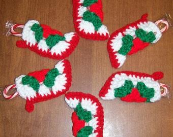 Six Handmade Christmas Stocking Ornaments