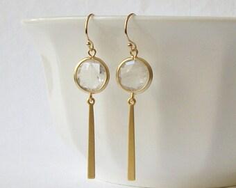 Clear Quartz Gold Drop Earrings, Minimal Jewelry, Modern Earrings