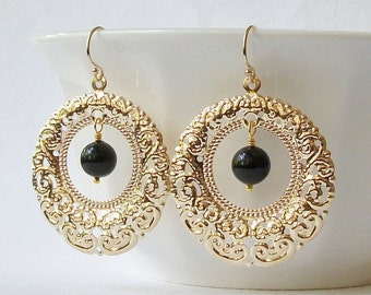 ON SALE Black Dangle Earrings