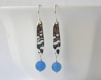 ON SALE Blue Glass Silver Earrings