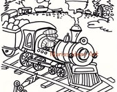 Coloring pages, Train art for kids, Boys art page, digitial download, learn to color
