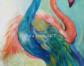 Peacock art, Flamingo art, two birds, Bird wall art, exotic bird, wildlife art, kids room wall art, animal art