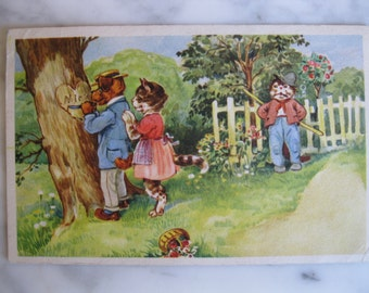 Vintage. Dressed Cats. Very old Dutch Postcard. In love with the Dog .1950 era