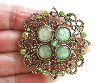 Vintage Green Art Glass and Green Rhinestones Filigree Brooch or Pin