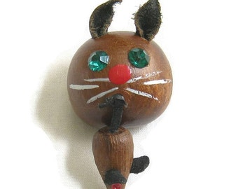 Vintage Arts and Crafts Wooden Kitty Cat and Mouse Brooch with Rhinestone Eyes