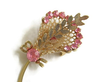 Vintage Pink Rhinestone Flower Floral Bouquet  Brooch or Pin