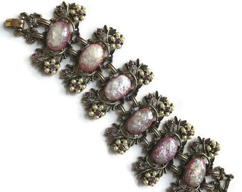 Vintage Pink, Purple & Silver Glass Confetti Cabochons, Faux Pearls and Rhinestones Link Bracelet