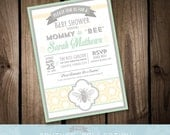 """Sale - INVITATION  - Mommy to """"BEE"""" Baby Shower mommy to bee modern pattern any color -  (Fully Customizable) Printable DIY Digital File"""