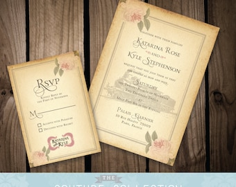Vintage Rose Styled Wedding Invitation - Vintage Train or Travel Theme - ( Customizable) with / without Train - Printable DIY Digital File