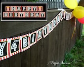"""Movie Night Banner - INSTANT DOWNLOAD Includes 2 banners: """"Happy Birthday"""" Ages 1-10 + """"Movie Night"""" Red and Black- DIY Printable Files"""