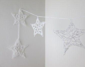 white star garland, holiday, christmas