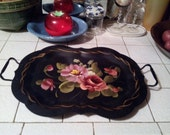 Large Black Tole Fine Arts Studio Footed Serving Tray With Handles