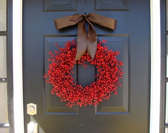 Fall Berry Wreath- Fall Decor- Fall Wreath- Red Berry WEATHERPROOF Berry Wreath for Fall
