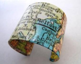 "Vintage Belfast Castine Blue Hill Maine map cuff bracelet - 2"" - gift boxed"
