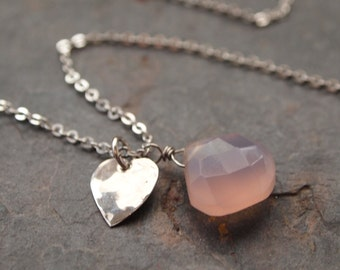 Silver Heart and Lavender Chalcedony Pendant