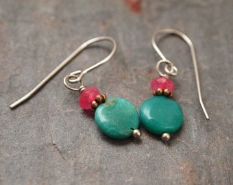 Pink Jade and Turquoise Earrings